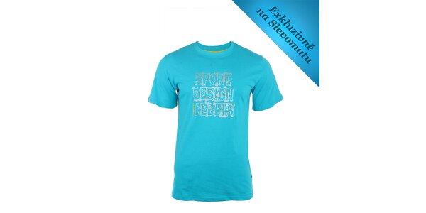 Pánské tyrkysové tričko se stříbrným nápisem Envy