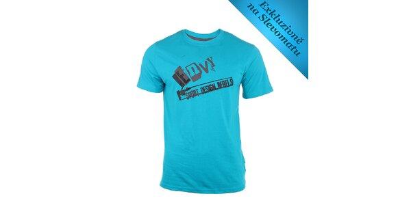 Pánské tyrkysové tričko se šedým nápisem Envy