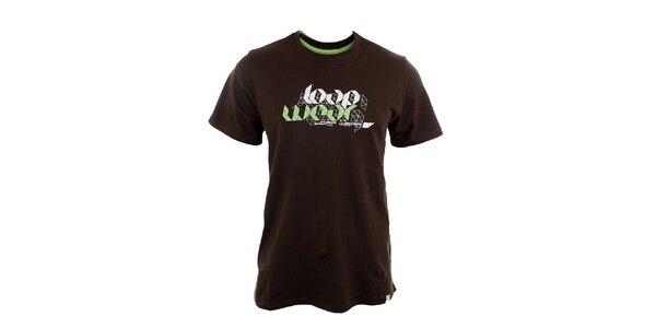 Pánské hnědé tričko s potiskem Loap