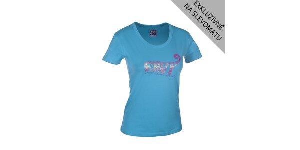 Dámské modré tričko s růžovým potiskem Envy