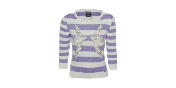Dámský fialově pruhovaný svetr s holubicemi Giorgio di Mare