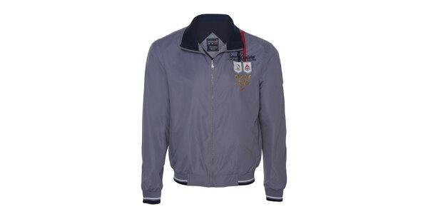 Pánská šedá bunda s nášivkami Giorgio di Mare