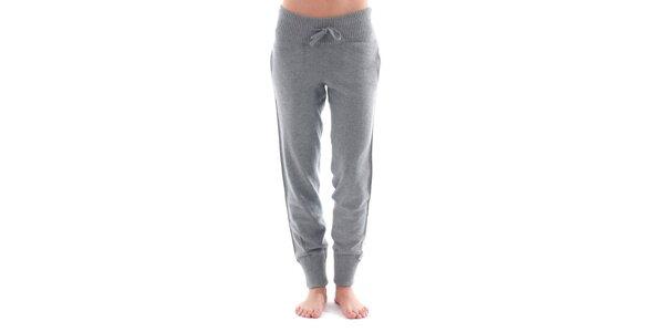 Dámské šedé sportovní kalhoty s bílým pruhem Nolita
