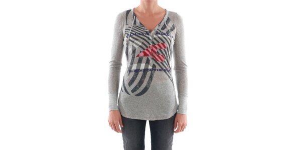 Dámské světle šedé tričko s barevným potiskem Nolita