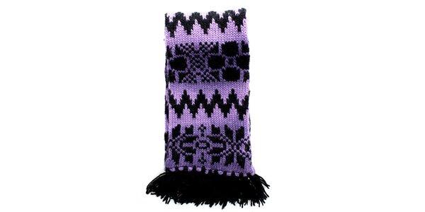 Dámská pletená fialovo-černá šála Nolita
