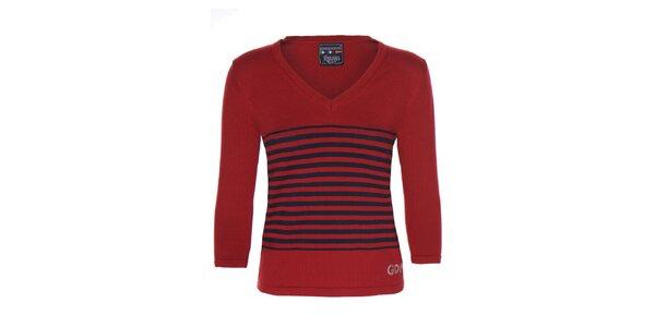 Dámský červený svetr s proužky Giorgio di Mare
