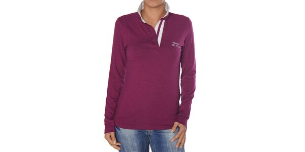 Dámské purpurové tričko s bílým límečkem Giorgio di Mare