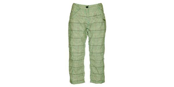 Dámské zeleno-šedé kostkované capri kalhoty Loap