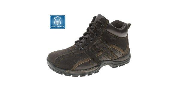 Pánské hnědé zimní kožené kotníčkové boty Beppi