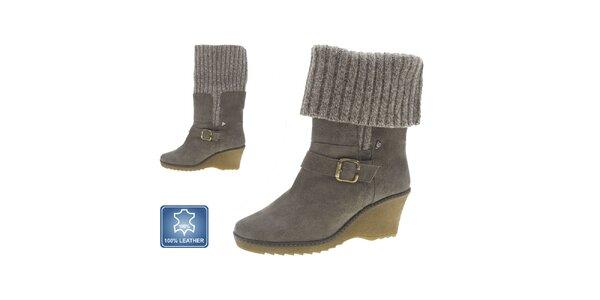 Dámské šedivé kožené boty na klínku Beppi