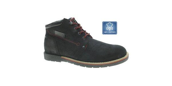 Pánské černé kožené boty s červenou tkaničkou Beppi