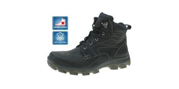 Pánské černé zimní kožené kotníčkové boty Beppi