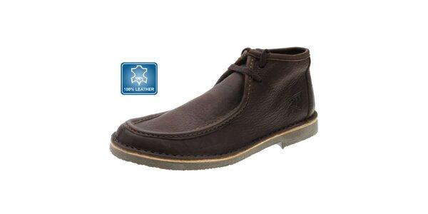 Pánské hnědé kožené boty Beppi