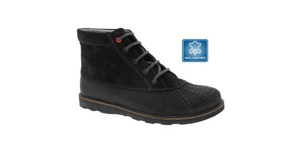 Dámské černé kožené šněrovací boty Beppi