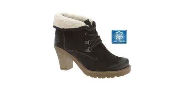 Dámské tmavě hnědé kožené boty s kožíškem Beppi