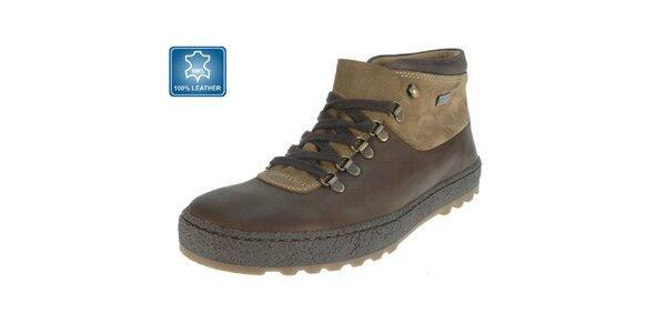 Pánské hnědé kožené kotníčkové boty Beppi