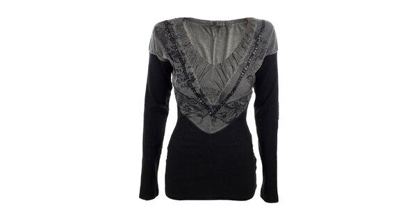 Dámské šedo-černé tričko Angels Never Die