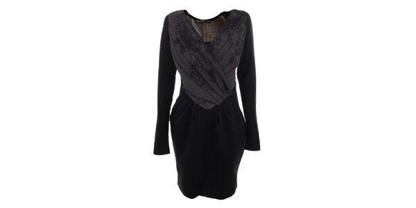 Dámské černo-fialové šaty s plisováním Angels Never Die