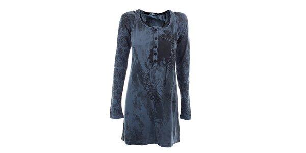 Dámské modré šaty s originálním potiskem Angels Never Die