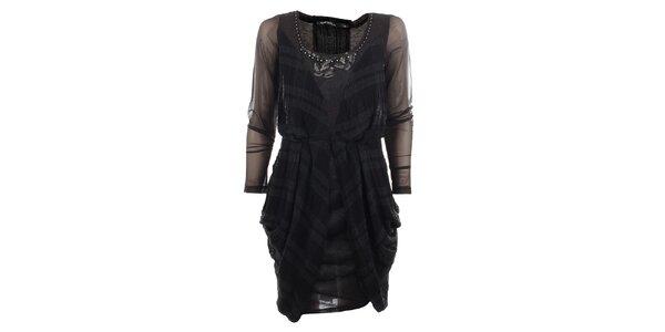 Dámské antracitové šaty s transparentními rukávy Angels Never Die