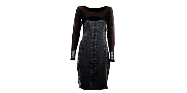 Dámské šedo-černé šaty s prostřihem Angels Never Die
