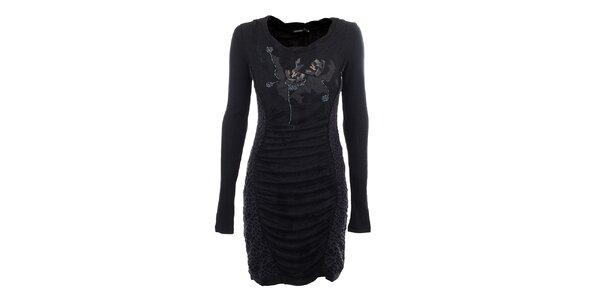 Dámské antracitové šaty s korálkovou aplikací Angels Never Die