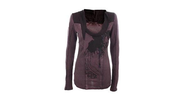 Dámské tmavě fialové triko s efektním límečkem Angels Never Die