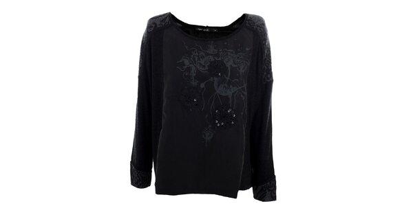 Dámské volné černé tričko Angels Never Die s flitry