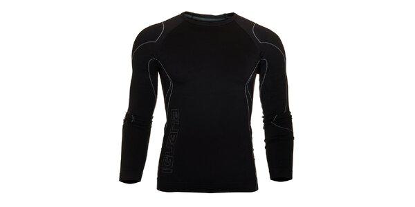 Pánské černé termo tričko Iguana s šedivými detaily