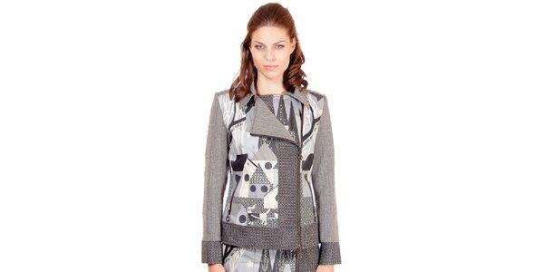 Dámský šedý kabátek s potiskem Rosalita McGee