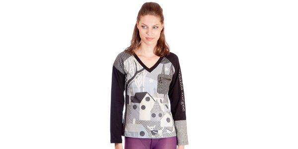 Dámské šedo-černé tričko s potiskem Rosalita McGee