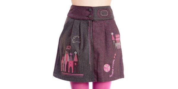 Dámská šedo-růžová sukně s domečky Rosalita McGee