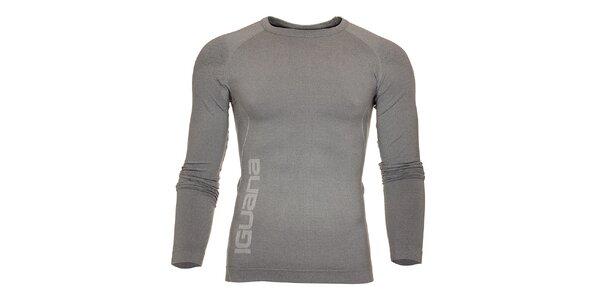 Pánské světle šedé termo tričko Iguana s potiskem