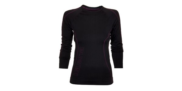 Dámské černé termo tričko Iguana s fialovými detaily