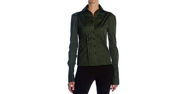 Dámská tmavě zelená košile s plisováním Gene