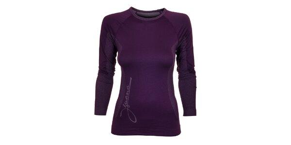 Dámské tmavě fialové termo tričko Iguana s potiskem