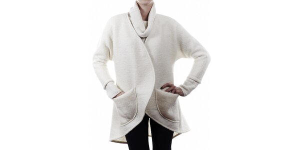 Dámský bílý vlněný kabátek Gene