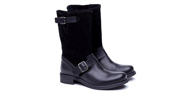 Dámské černé kožené kozačky Shoe the Bear