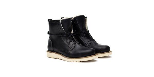 Dámské černé kožené kanady s kožíškem Shoe the Bear