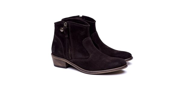 Dámské tmavě hnědé semišové kovbojské boty Shoe the Bear