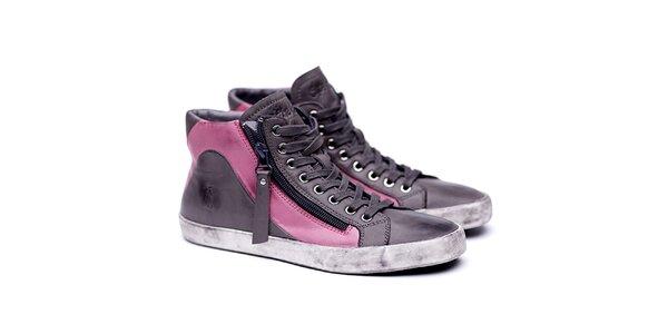 Dámské kožené šedé boty na šněrování Shoe the Bear