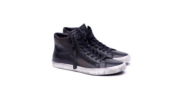 Dámské kožené černé boty na šněrování Shoe the Bear