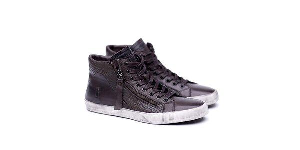 Dámské kožené hnědé boty na šněrování Shoe the Bear