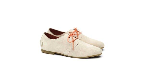 Dámské béžové polobotky s oranžovými tkaničkami Shoe the Bear