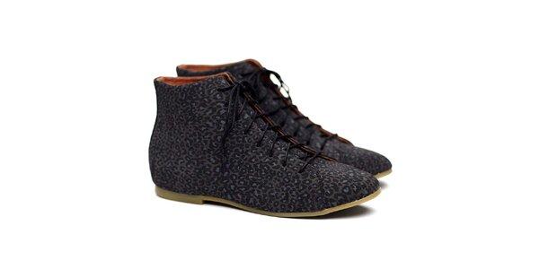 Dámské šedé kotníkové polobotky s leopardím potiskem Shoe the Bear