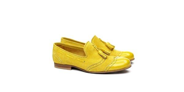 Dámské kanárkově žluté semišové polobotky Shoe the Bear