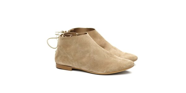 Dámské béžové semišové botky Shoe the Bear