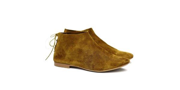 Dámské olivové semišové botky Shoe the Bear
