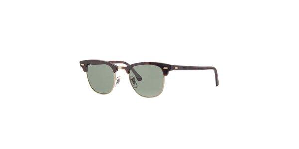 Hnědé žíhané sluneční brýle Ray-Ban Clubmaster se zlatými obroučkami
