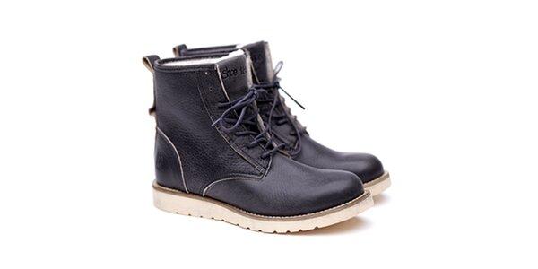 Pánské šedivé kožené boty na šněrování Shoe the Bear